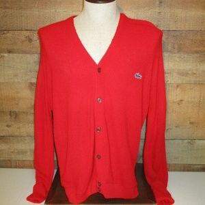 Vintage 1960's Izod Lacoste Red Acrylic Sweater L